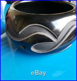 Madeline Naranjo-Vintage Santa Clara Pueblo Pottery Carved Black Bowl-NICE