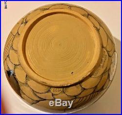 Mary Lou Higgins Signed 10.25 Art Pottery Bowl Vtg 1977 Silver Gold Lustreware