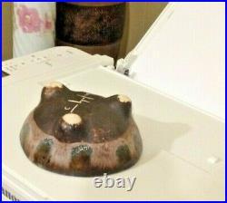 McCarty Pottery JADE NUTMEG VTG. TRIPOD BOWL 5 W 2 1/2H BEAUTIFUL! UNIQUE