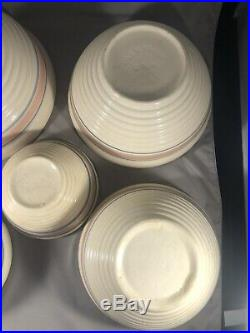 McCoy Pottery Pink Blue Striped Mixing Bowls Ovenware Beehive Style Vtg Set of 5