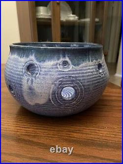 Mccarty Pottery Large Blue Fairy Lights Candle Bowl Vintage