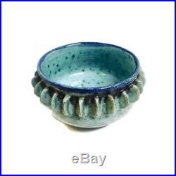 Merritt Island Pottery Mel Casper Decorative Thorn Bowl Blue Vtg