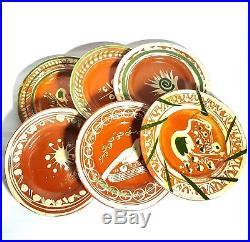 Mexican vintage pottery 25 Tlaquepaque Redware plates, tea cups, bowls, platter