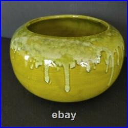 Miali Pottery Large Vintage Planter Bowl Green Drip Glaze California MCM