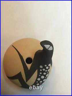 Mini Rare Zuni Lizard Pottery Vase Seed Bowl by A. A. Peynetsa 97 Vintage Signed