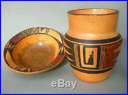 NAMPEYO! Vintage 2pc. HOPI SIKYATKI REVIVAL Pottery Collection! Vase & Bowl