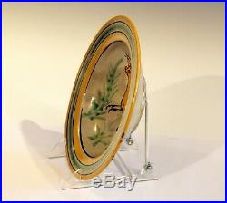 Old Montiel Vintage Guatemalan Pottery Majolica Deer Antelope Plate Charger Bowl
