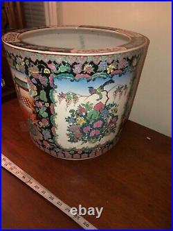 Old vintage Asian floor pot planter pottery fish bowl family rose