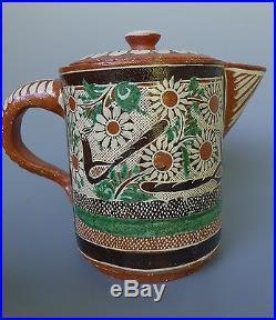 Old vintage Mexican Tlaquepaque/Tonala petatillo tea set withcreamer sugar bowl