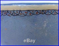 Old vintage Mexican Tlaquepaque tourist pottery blue bowl 10 dlam x 5 1/2