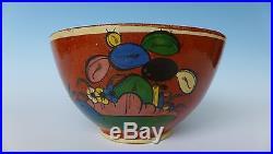 Old vintage Mexican Tlaquepaque tourist pottery blue bowl 9 1/4 diam x 5