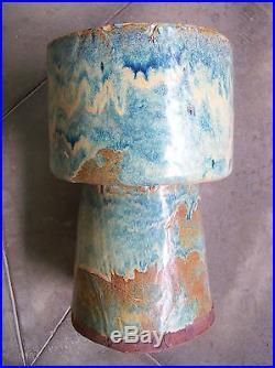 Original Vintage Pottery Vase Mid Century Modern Blue Drip Large Planter Bowl