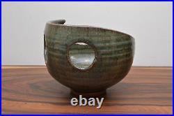 Outstanding Vintage Asymmetric Cut Out Detail Alan Ward Studio Pottery Bowl