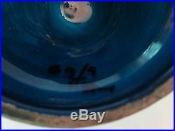 PEDESTAL CENTERPIECE BOWL! Vintage ITALIAN ROSENTHAL NETTER pottery BLUE glaze