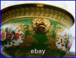 Paris Porcelain Covered Sweet Meat Sauce Tureen Bowls Urn Gold Gild Pair Antique