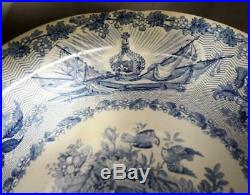 Queen Victoria Coronation Blue and White Pearlware Pottery Wash Bowl