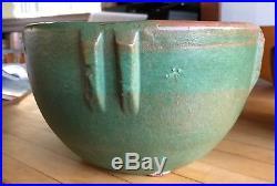 RARE Bauer Indian bowl MATTE GREEN vintage Arts Crafts c1910