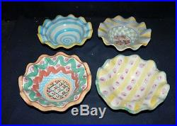 RARE SET OF 4 MACKENZIE-CHILDS VINTAGE RETIRED DEEP SOUP/CEREAL BOWLS -WithRUFFLED