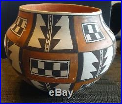 RARE VINTAGE SIGNED Pablita Concho Acoma Potter Pueblo Bowl 7 H c. 1975-1991