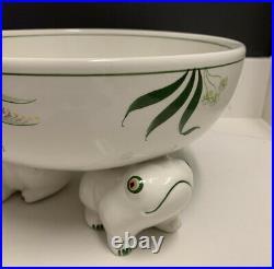 RARE VINTAGE TIFFANY & CO White Green Frog Bowl Este CERAMICHE Made in ITALY