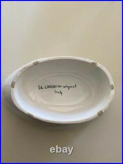 RARE VTG Ed Langbein Original Hand Made White Ceramic Rooster Tureen Lidded Bowl