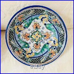 RARE Vintage Mid Century Talavera Pottery Signed Uriarte Mexico Bowl