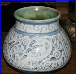 RARE Vintage SHEARWATER POTTERY SCRAFFITO BOWL VASE Walter Anderson Design MINT