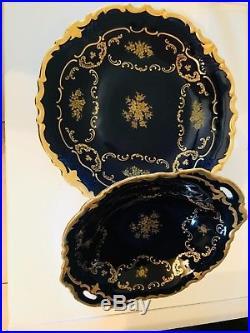 R Echt Reichenbach Kobalt Gold Set Plate Bowl Tray Vintage Rare Germany