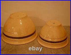 Rare Pair Vintage Nesting Roseville Lg Banded Mixing Bowls Yellow Ware Antique