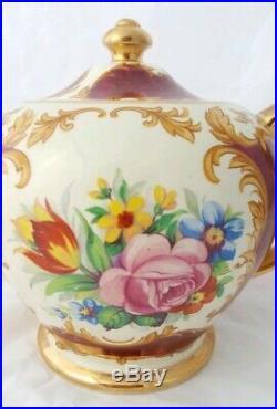 Rare Sought AfterBeautiful Vintage Sadler Burgundy Floral Teapot and Sugar Bowl