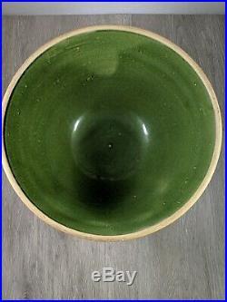 Rare Vintage 1930's Green McCoy Sunburst Yellow Ware Pottery Mixing Bowl 10