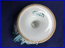 Rare Vintage DERUTA Ceramic Pedestal Bowl Hand Painted Curly Snaked Handles