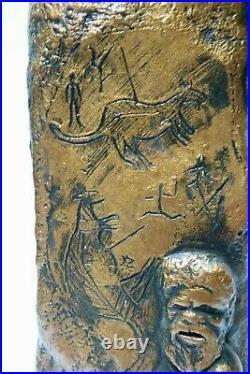 Rare Vintage Embossed Aboriginal Australian Pottery Lamp Kangaroo Studio Art