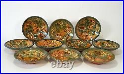Rare Vintage FF Griffi Cassis Corsica Terracotta Handpainted Coupe Cereal Bowls