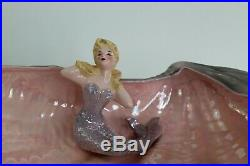 Rare Vintage Florence Ceramic Merrymaids Mermaids Figurines with 16 Shell Bowl