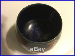 Rare Vintage Moorcroft Cobalt Open Sugar Bowl Pomegranate