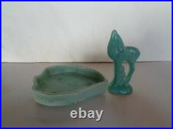 Rare! Vintage Nelson Mccoy Green Deer Flower Bowl Ornament With A Dish. L@@k