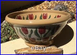Rare Vintage Nicholas Mosse Pottery Ireland Brilliant Tulips Yelloware Bowl