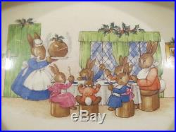 Rare Vintage Royal Doulton Bunnykins Christmas Scene Porridge Bowl