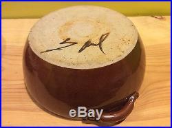 Rare vtg Texas artist signed Saul 1983 pottery casserole bowl lid sculpture dish