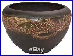 Roseville Pottery Rosecraft Vintage Brown Arts and Crafts Bowl 144-6