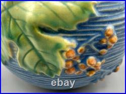 Roseville Pottery Vintage Blue Bushberry Rose Bowl, Shape 411-4, Marked