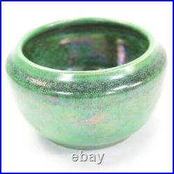 Ruskin Pottery high fired bowl mottled green & black iridescent glaze 026N