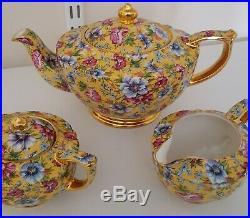 Sadler cube teapot Sophie Chintz oval set milk jug sugar bowl vintage gold gild