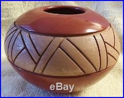 Santa Clara RED Mica Incised Pottery Bowl Linda Tafoya Sanchez Vintage 1980s