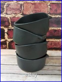 Set 4 Bennington Potters Black Vintage Rustic Farmhouse Vermont Bowls MCM Rare