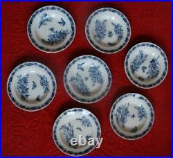 Set 7 Blue Transferware Porcelain French Antique Soup Plate Vintage Bowls