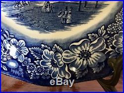 Set Of 12 Vintage Staffordhire Ironstone Liberty Blue Dinner Plate & Soup Bowls
