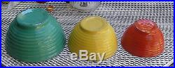 Set Of 3 Nesting Pottery Mixing Bowls Ribbed Orange Yellow And Green Vintage