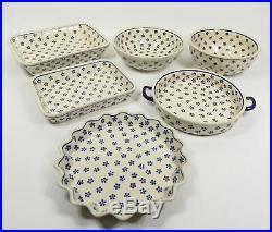 Set Of 6 Vintage Boleslawiec Polish Pottery Serving Dish Pie Casserole Bowls